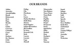 List of brands AtoZ listing  Factory Outlet Store